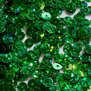 Value Pack 50g 6mm Hologram Green Flat Round Sequins